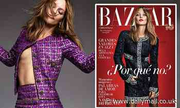 Vanessa Paradis, 47, goes braless in a shimmering Chanel co-ord in Harper's Bazaar Spain shoot