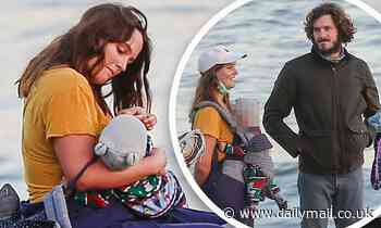 Leighton Meester and Adam Brody enjoy a socially distanced evening at the beach with friends