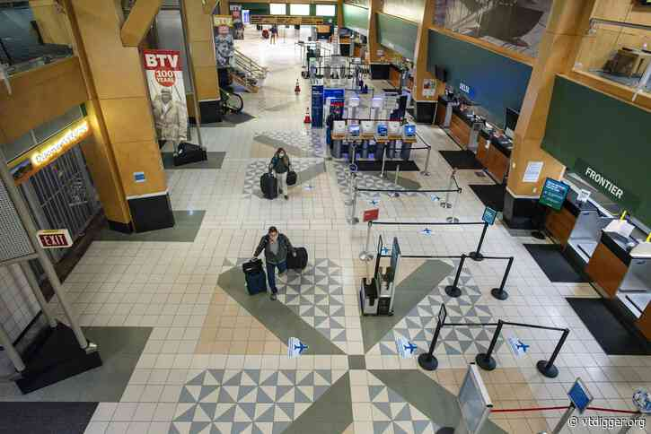 Few passengers at Burlington airport on what's normally a bustling travel day