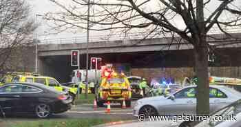 M3 crash: Emergency services close off Sunbury roundabout road due to collision - recap - Surrey Live