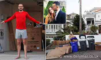 Carl Lentz is pictured throwing out the trash at his new $16k-a-month Manhattan Beach home