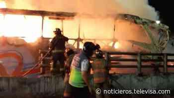 Autobús se incendia al chocar contra un muro en la México-Pachuca - Noticieros Televisa