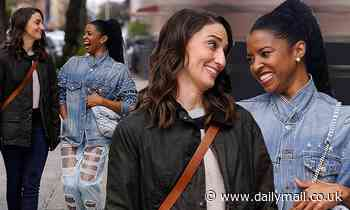 Sara Bareilles and Renee Elise Goldsberry laugh it up while filming Tina Fey sitcom Girls5Eva in NYC