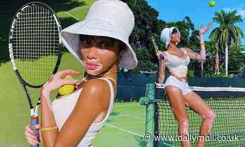 Winnie Harlow showcases her toned abs as she enjoys a game of tennis