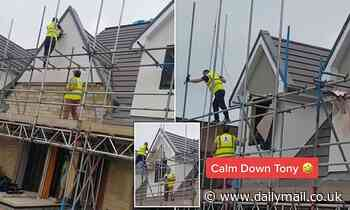 Moment furious builder smashes up two houses with a HAMMER