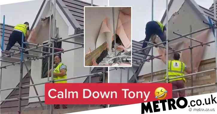 Angry tradesman tears down building work 'after not being paid'