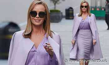 Amanda Holden wears lilac pencil skirt with matching shirt and coat