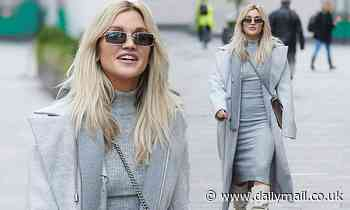 Ashley Roberts looks effortlessly cool in a grey dress and skinny shades as she leaves Heart FM