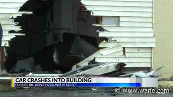 Vehicle totaled after crashing into old Big Apple Pizza building