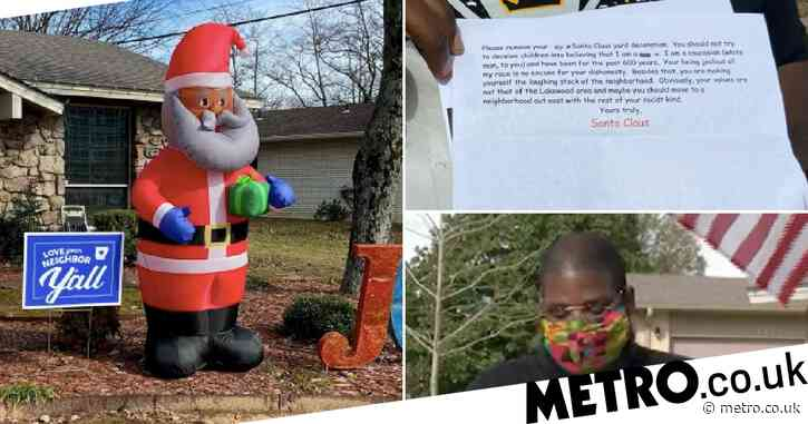 Family receive hate-filled racist note from 'Santa' after erecting black St Nick inflatable