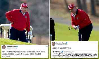 Trump kicks off his Thanksgiving with a round of golf and complaints about election