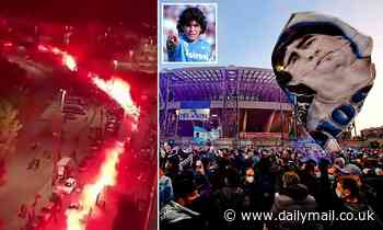 Napoli light up stadium to honour Diego Maradona as Serie A side claim 2-0 victory over Rijeka