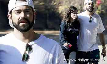 Jesse Metcalfe prepares for his turkey feast as he takes a Thanksgiving Day hike