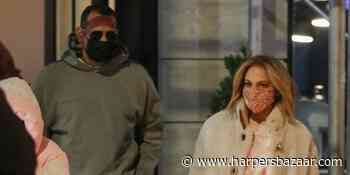 J.Lo Cozies Up in a Shearling Coat and UGG Boots for Dinner with A-Rod in New York - HarpersBAZAAR.com