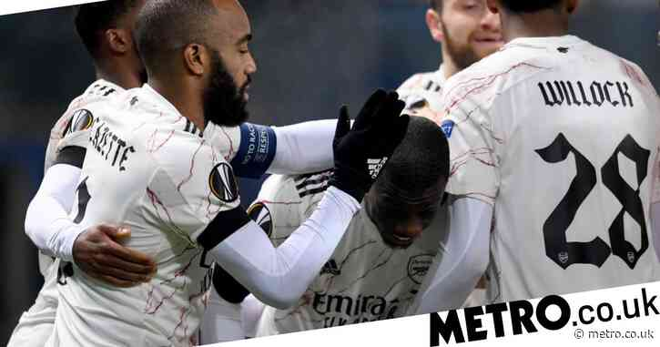 Mikel Arteta challenges Nicolas Pepe after Arsenal's Europa League victory over Molde