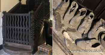 Couple shocked to discover 'witches den' with animal skulls under their stairs
