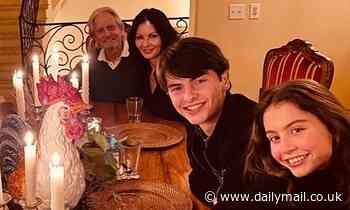 Catherine Zeta-Jones and Michael Douglas enjoy Thanksgiving dinner their children Dylan and Carys
