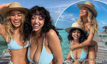 Montana Brown twins with her pal in sizzling blue bikinis on idyllic Maldives shoot