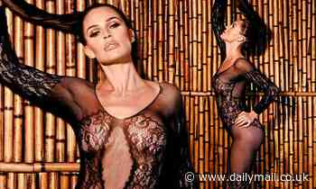 Danielle Lloyd shows off her phenomenal frame in a semi-sheer lace bodysuit