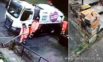 Moment council road sweeper crashes into front garden wall