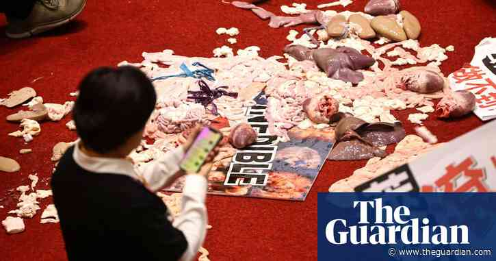 Taiwan politicians throw pig guts at each other in row over US meat imports