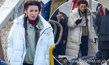 Michelle Keegan wraps up in white padded jacket as she continues to film Brassic in North Wales
