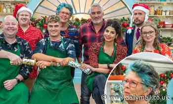 Great British Bake Off judge Prue Leith,80, rocks bright BLUE hair for Christmas special