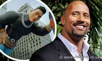 Dwayne The Rock Johnson reacts to Macy's Thanksgiving Parade balloon