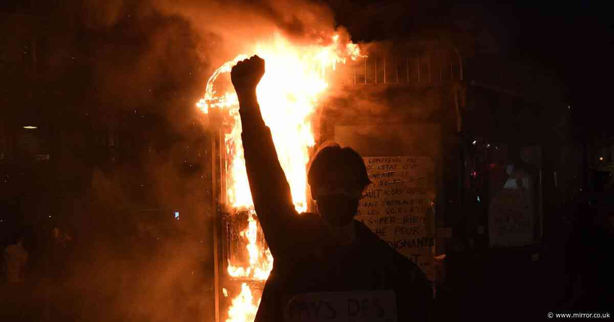 Protesters launch fireworks during 'anti-police brutality' demo in Paris