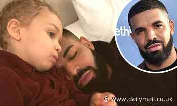 Drake snuggles up to three-year-old son Adonis as he rests his head on his shoulder