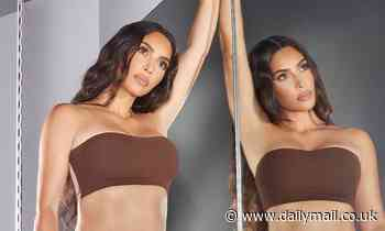 Kim Kardashian strikes a sexy pose as in front of a mirror wearing just her 'buttery soft'  SKIMS