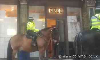 Police on horseback in restaurant 'bust'
