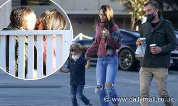 Jordana Brewster and Mason Morfit pack on PDA with several makeout sessions while out with son Rowan