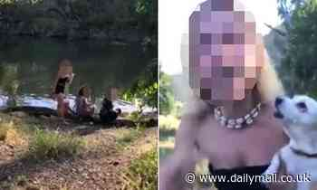 Astonishing moment a woman unleashes on a landowner after swimming in a stream on private property