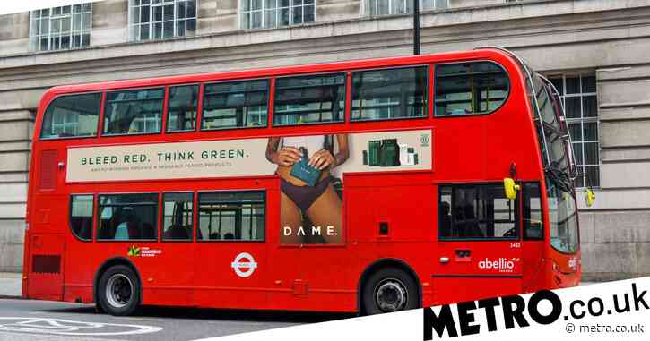 Veterinary nurse and law student shows her tampon string on the side of a London bus