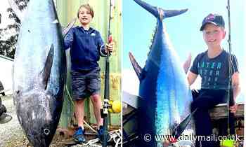 Ten-year-old boy hauls in enormous 88kg fish off Tasmania