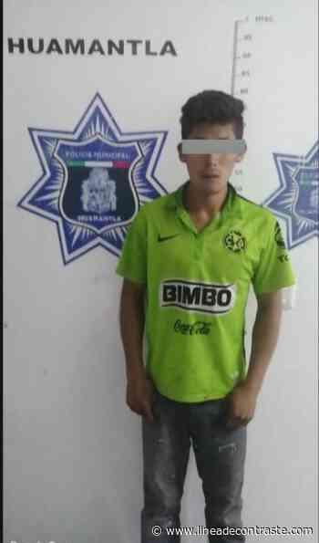Policía Municipal de Huamantla asegura en flagrancia a masculino por robo a institución educativa - Linea de Contraste