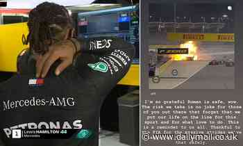 Lewis Hamilton pays tribute to F1 driver Grosjean after his horror crash