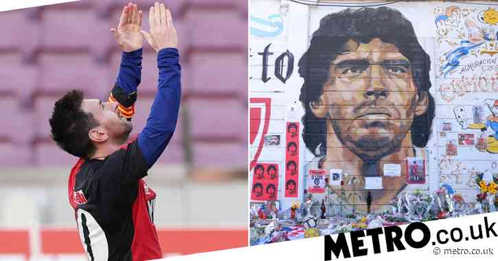 Barcelona star Lionel Messi dedicates goal to Diego Maradona – and is then booked