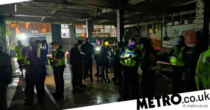 Police pelted with glass bottles as officers break up 150-person rave