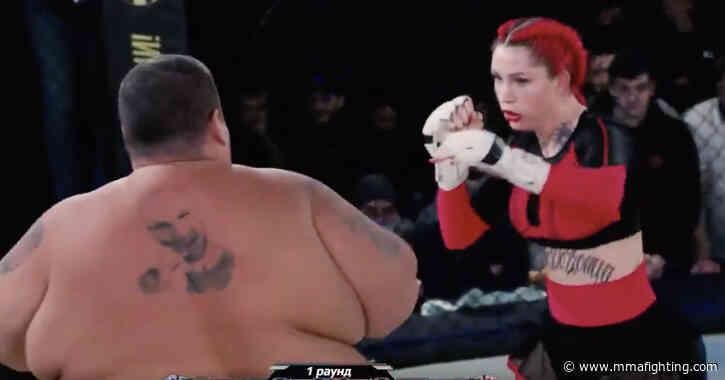 Video: 139-pound woman TKO's 529-pound man at MMA event in Russia