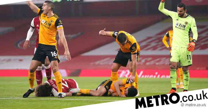 Raul Jimenez rushed to hospital after sickening collision with David Luiz