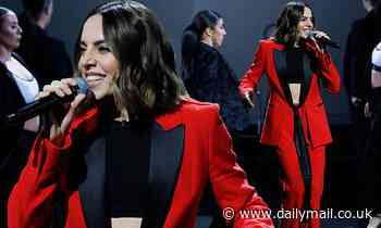 Mel C, 46, reveals her honed midriff in black crop-top for the Royal Variety Performance