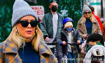 Hilary Duff goes on a stroll with her family in New York City after quarantining