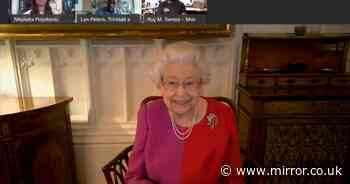 Queen's first virtual lockdown concert as she's serenaded by school kids on Zoom