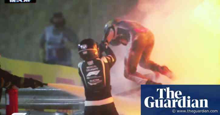 'I'm OK': Romain Grosjean walks away from huge F1 crash – video