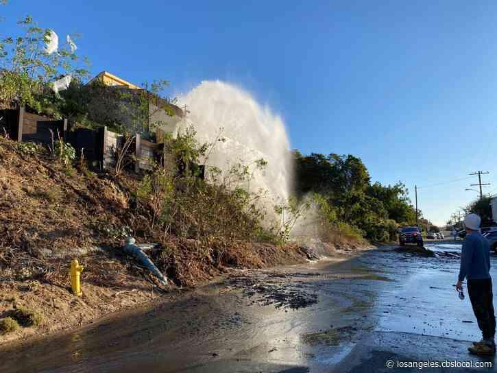 Water Main Break Impacts Pacific Coast Highway Traffic In Malibu