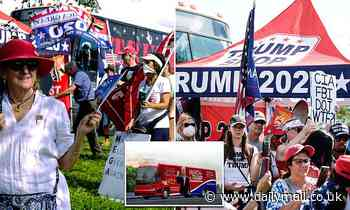 Trump supporters gather to kick-off the March for Trump bus tour, a two week multi-state rally