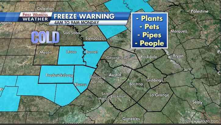 Subfreezing winds chills Monday, subfreezing temps Tuesday