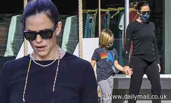 Jennifer Garner is casual in black ensemble as she holds hands with son Samuel, 8, on Sunday stroll